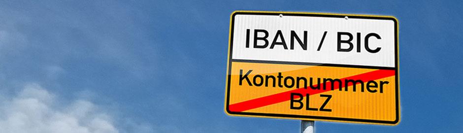 Straßenschild IBAN / BIC