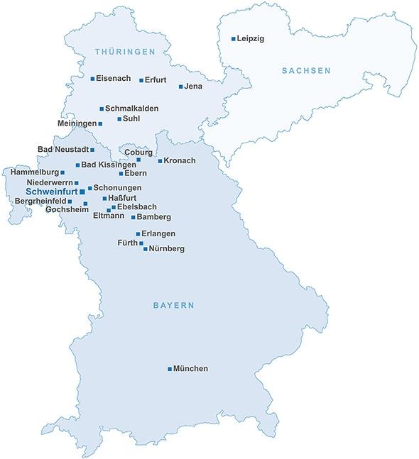 Landkarte mit allen FLESSABANK-Niederlassungen